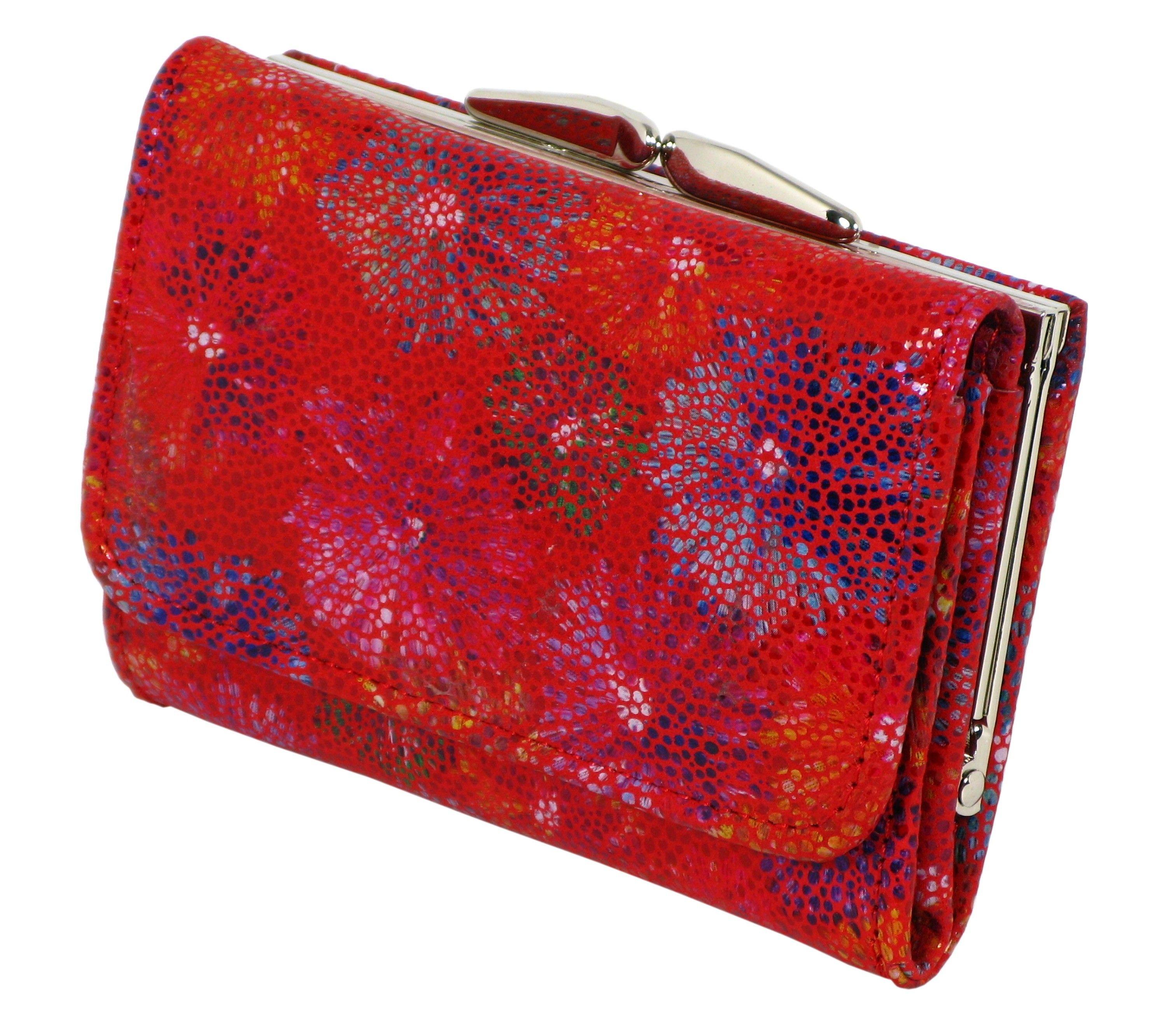 4dd356f3b93bb Damski portfel skórzany 1601 czerwony kwiaty RFID ...