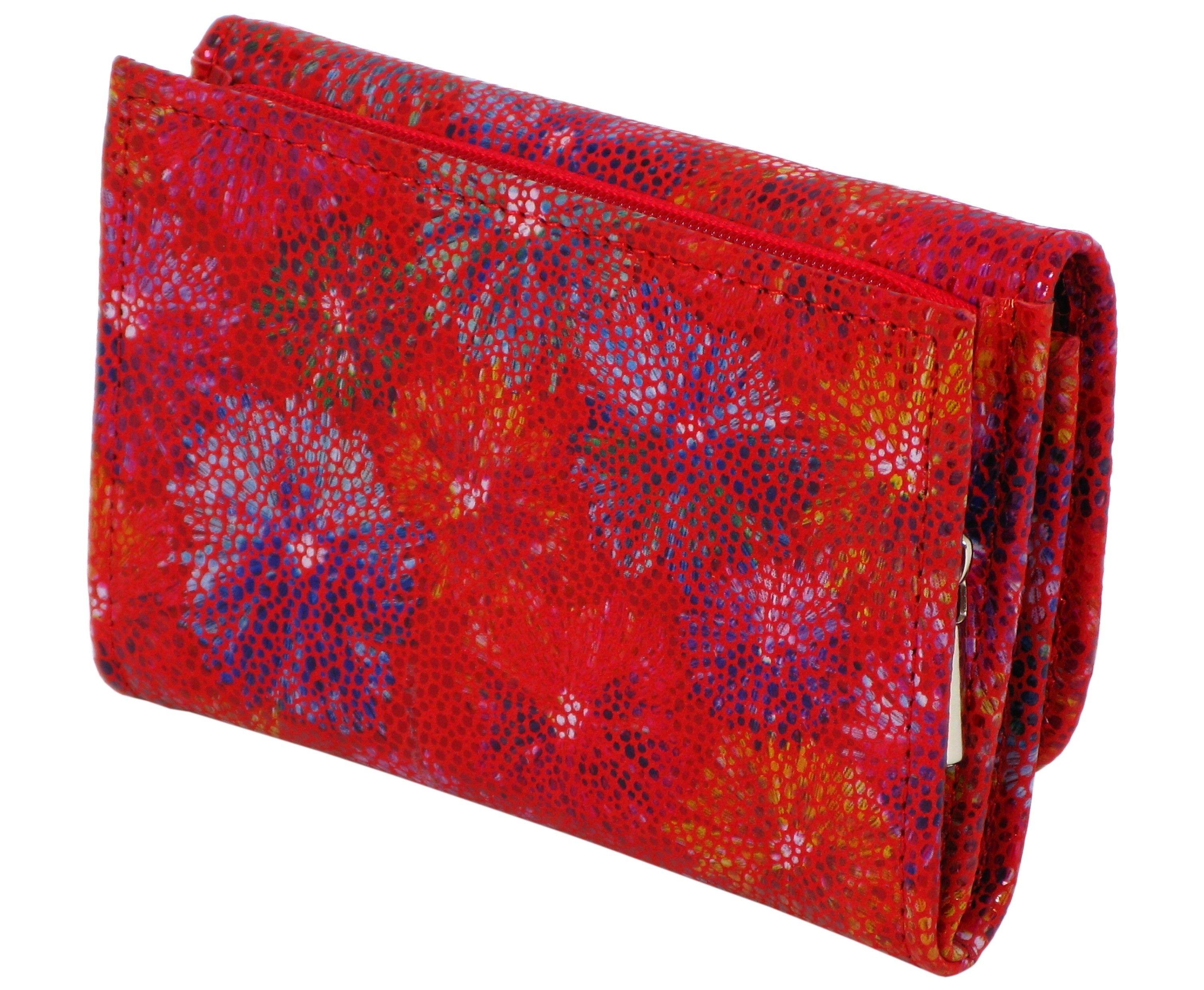 35c012f252219 Damski portfel skórzany 1601 czerwony kwiaty RFID Damski portfel skórzany  1601 czerwony kwiaty RFID ...