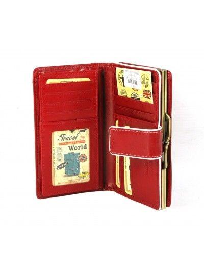 70560a461501c PETERSON skórzany portfel damski 447-3 czerwony | Akcesoria skórzane ...