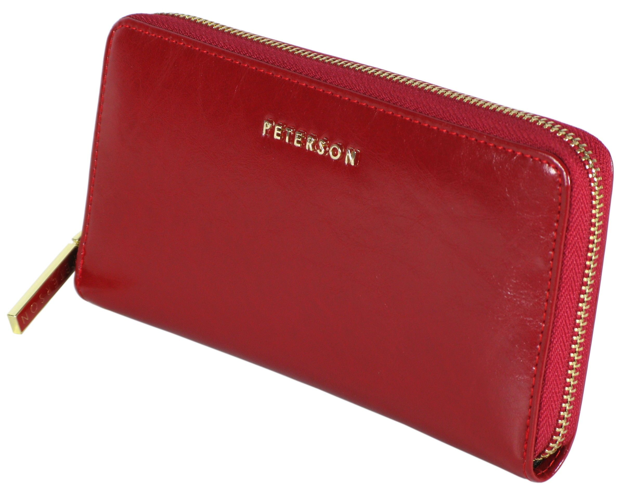 a5e422a5818f5 portfel damski skórzany allegro czerwony peterson lakierowany ...