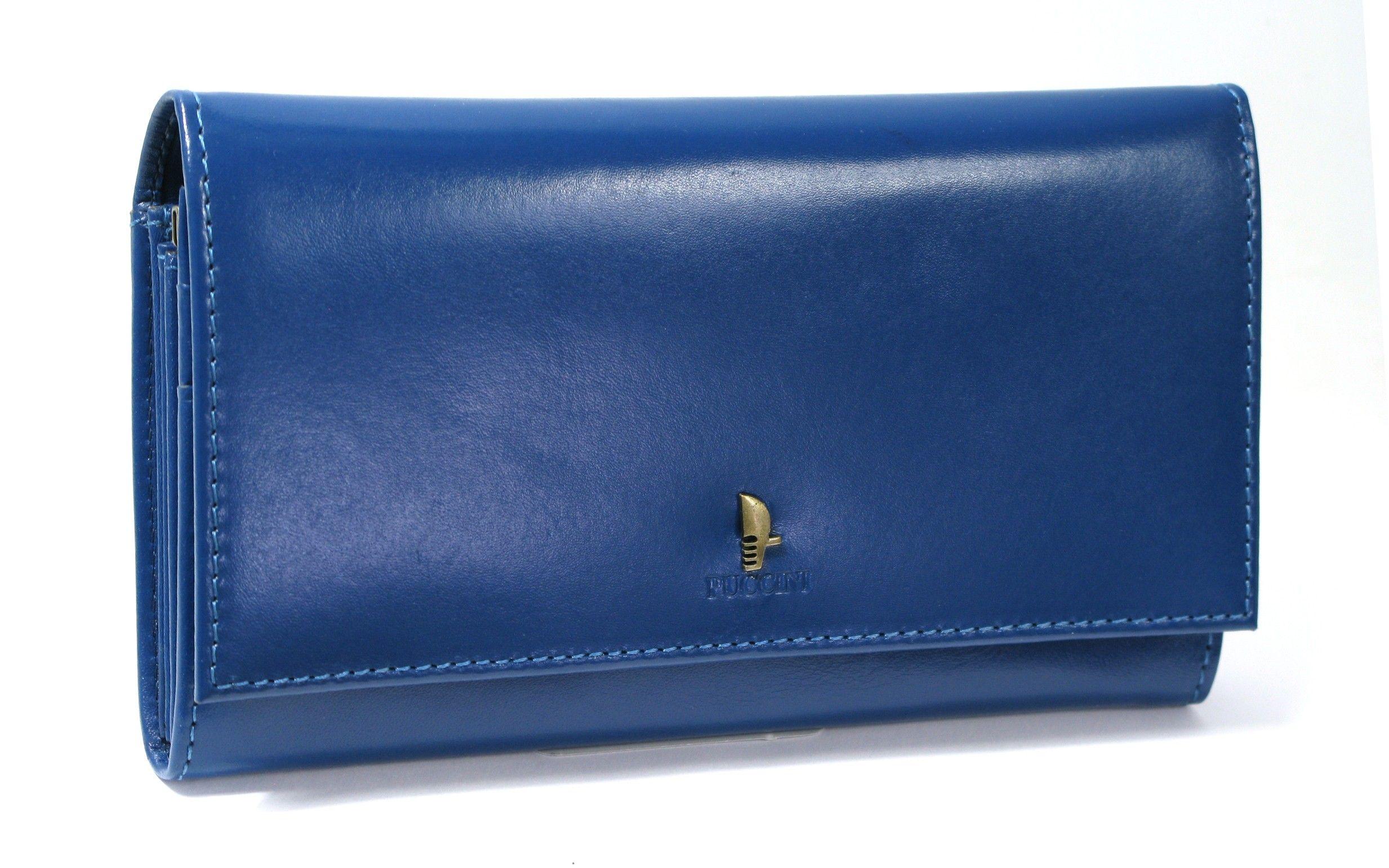 fadfbdb621d0e Skórzany portfel damski PUCCINI P-1705 niebieski