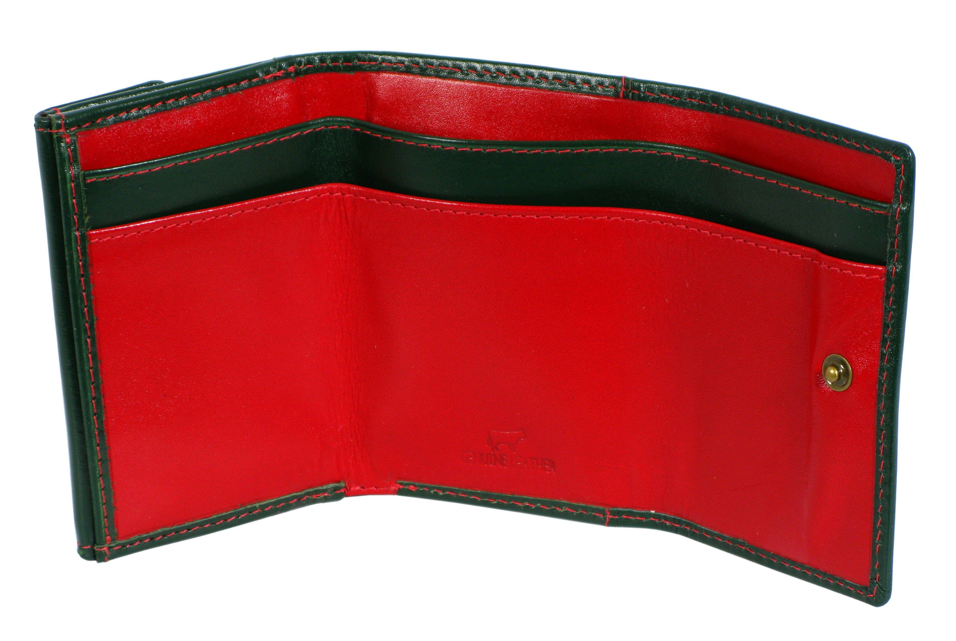e1eb9739a3632 Mały portfel skórzany EL FOREST 855 czerwono zielony skóra ...