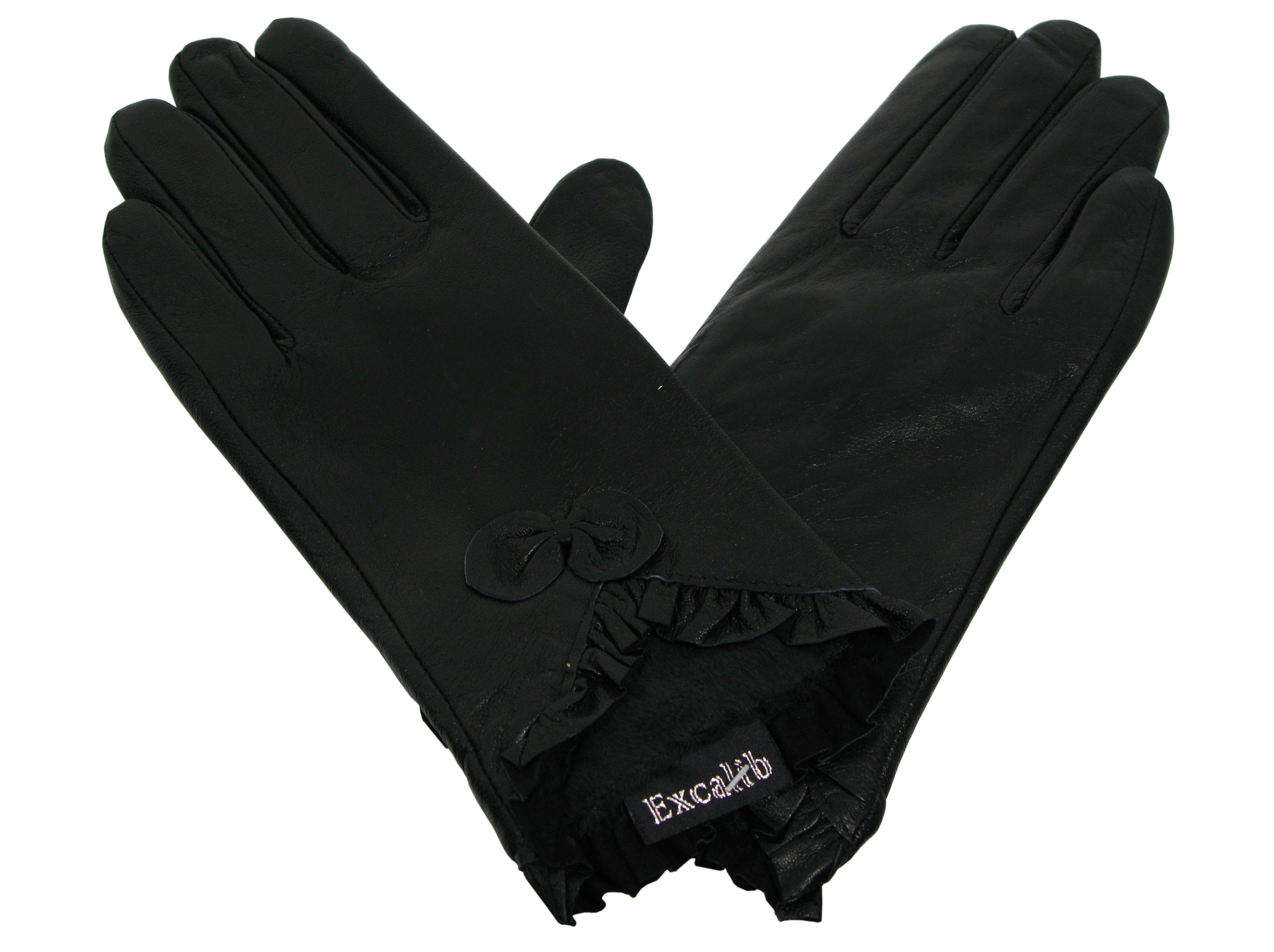 0a8308cc28ffd8 Skórzane rękawiczki damkie z kokardką czarne   Akcesoria skórzane ...